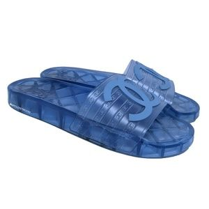 Chanel Blue Clear CC Jelly Slides